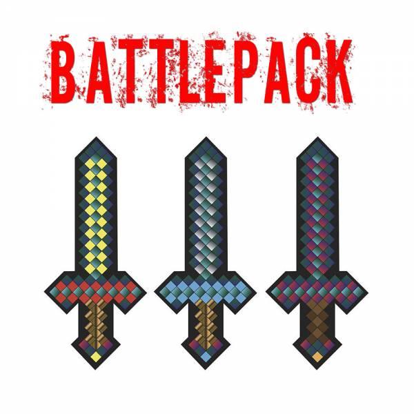 3er Set - Plüsch Schwert ca.25cm pixel, blau, rot, gelb für alle Minecraft- und Retro-Fans