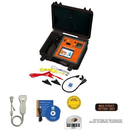 HT-Instruments MultiTest HT700+ SetBGV A3 Tester inkl. Barcodescanner, Barcode- & Prüfetiketten