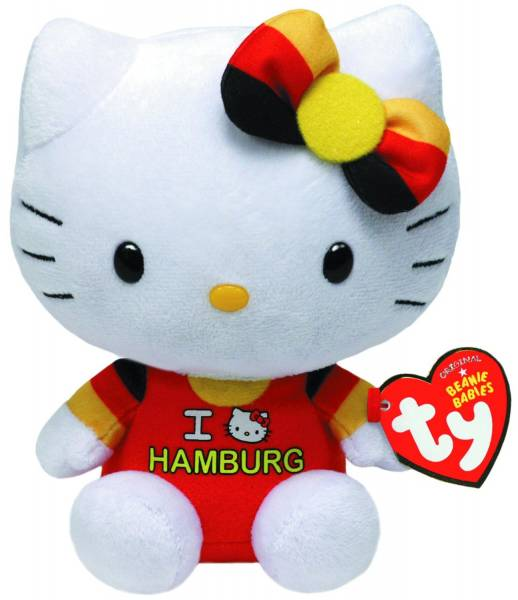 "Ty Beanie Babies, ""Hello Kitty"" mit Hamburg-Shirt, ca 15cm"