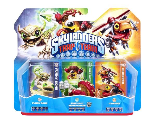 SKYLANDERS TRAP TEAM Triple Packs - Undead Funny Bone, Life Sure Shot Shroomboom, Tech Chopper