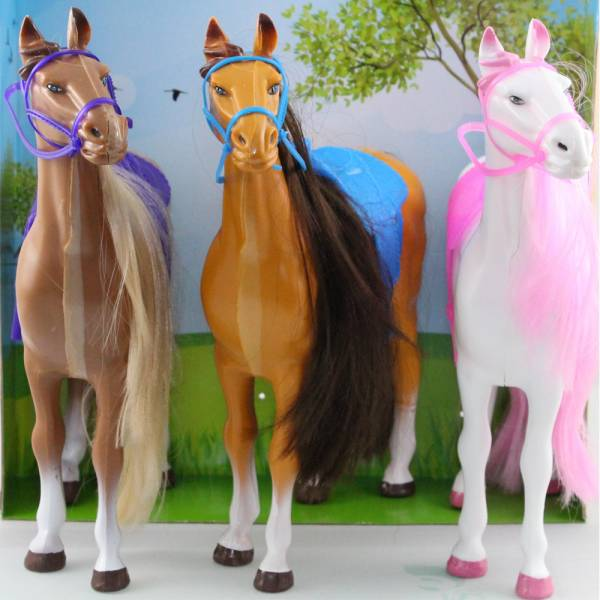 3er-Pack Puppenpferde, Reitpferde 30cm, weiß/pink, hellbraun/blau, dunkelbraun/lila