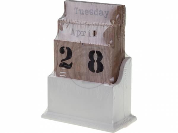 Dauerkalender, Steckkalender Holz, 16x6x11,5cm, weiß