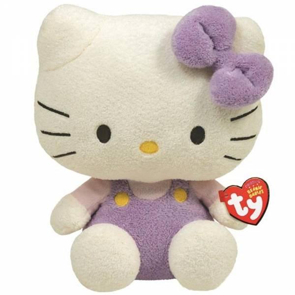 Hello Kitty Pluffie, Overall lavendel/rosa, ca 15cm
