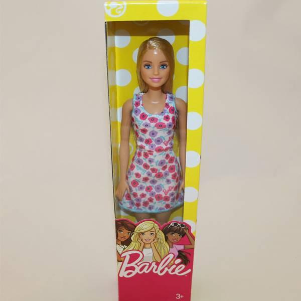 "Barbie - Modepuppe ""Chic"", Blond, weiß/lila/pink geblümtes Kleid"