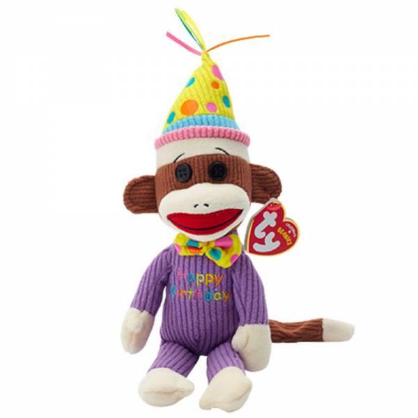 Ty Plüsch - Beanie Babies Socks - Sockenaffe Happy Birthday, 15cm