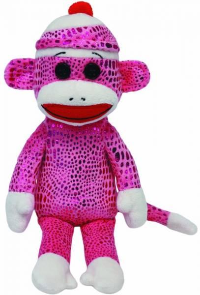 Ty Plüsch - Beanie Babies Socks - Sockenaffe pink leuchtend, 15cm