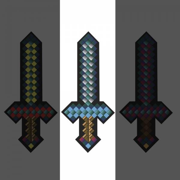 Plüsch Schwert ca.25cm pixel, Blau für alle Minecraft- und Retro-Fans