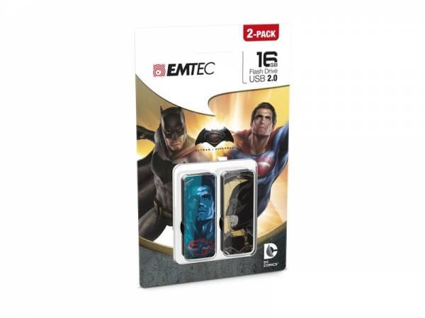 USB FlashDrive 16GB EMTEC Batman VS Superman Doppelpack (2 Sticks a 16GB)