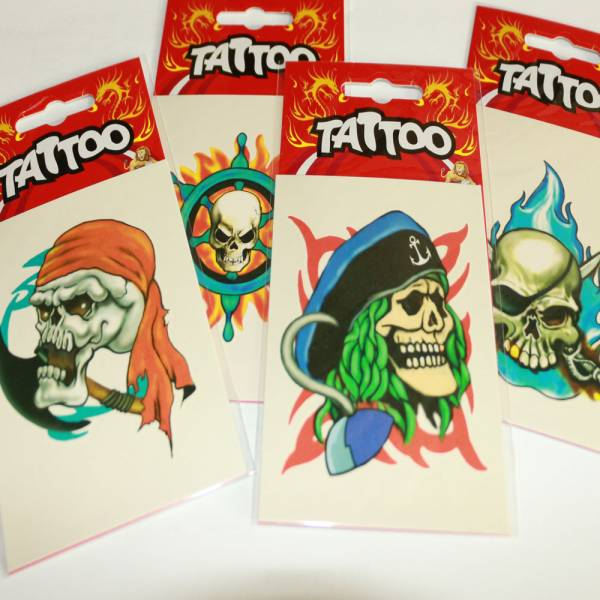 4er Set Piraten Tattoos, selbstklebend
