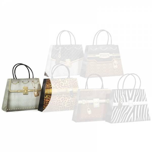 """3D-Geschenktüte """"Handtasche/Handbag"""", Snake silber"""