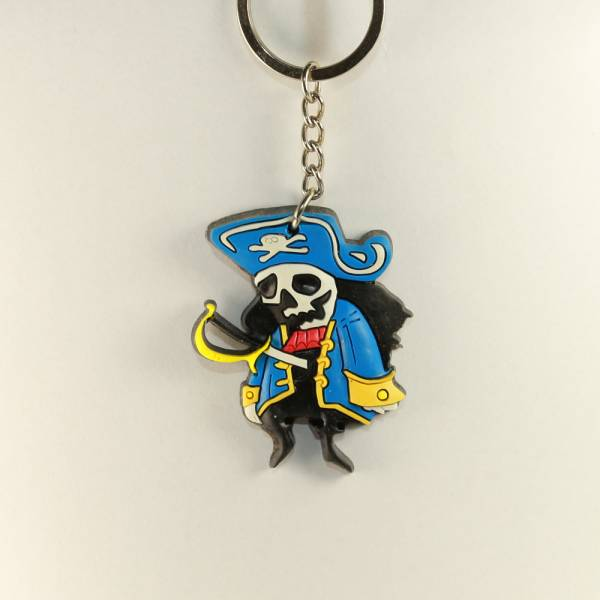 "Schlüsselanhänger ""Pirates only"", blaues Piratenskelett (PVC)"