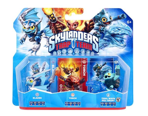 SKYLANDERS TRAP TEAM Triple Packs - Trap Master, Air Blades, Fire Torch, Water Tidal Wave Gill Grun