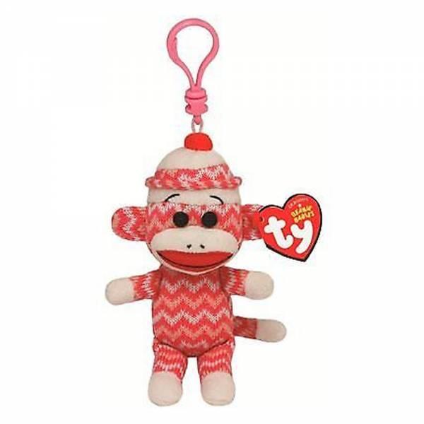 Ty Plüsch - Beanie Babies Socks Clip - Sockenaffe pink/weiss Zig Zag, 8.5cm