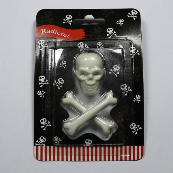 "Totenkopf-Radierer ""Pirates only"", weiss"
