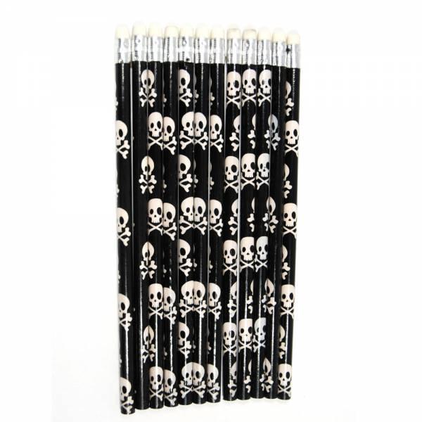 12 Totenkopf Bleistifte mit Radiergummi