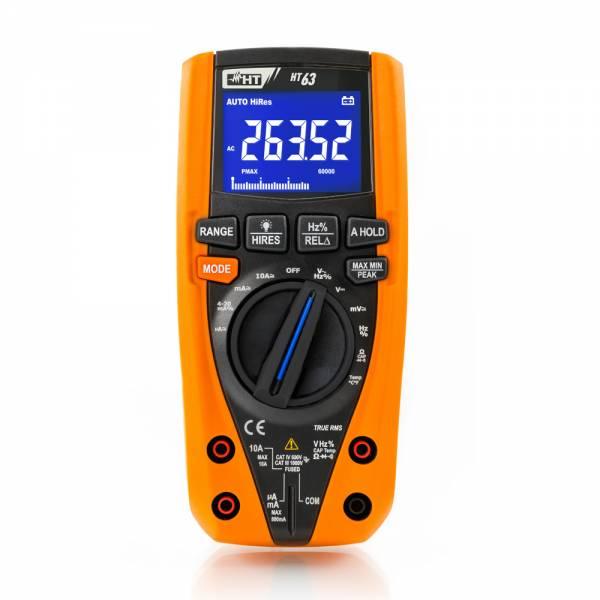 HT-Instruments HT63 Digitales Multimeter TRMS, 4 stellige Anzeige, 6000/60000 Digits, Bargraph, CAT