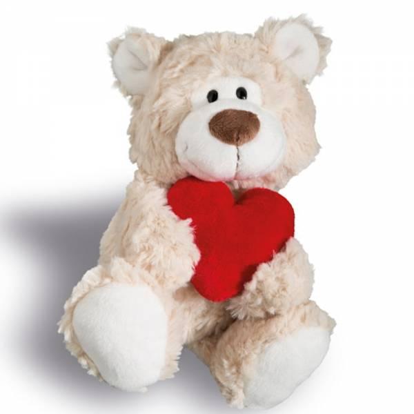 Nici Bär beige mit Herz, ca 22cm